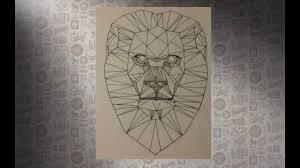 мой эскиз черной тату лев в стиле геометрия