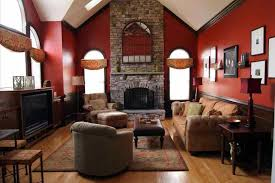 attractive rustic home paint ideas stone fireplace wall
