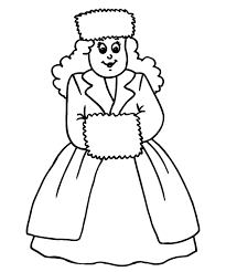 Princess On Winter Clothes Coloring Page Girls Coloring Pages