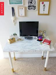 ikea office makeover. Before \u0026 After: IKEA Desk Gets A Quick Glam Makeover   Apartment Therapy Ikea Office