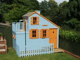 lawn garden modern large blue painted wood garden playhouse design with orange painted wood