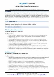 Advertising Plan Pdf Advertising Sales Representative Resume Samples Qwikresume