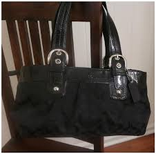 Coach Madison Signature Shop Heathers Closet Madison Logo Signature Medium  Black Satchel Black Shoulder Bag. 1234567