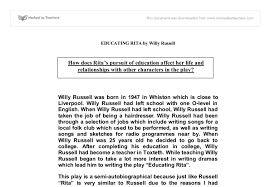 educating rita essay gcse english marked by teachers com document image preview