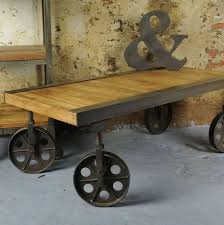 industrial antique furniture. Industrial Vintage Coffee Table With Wheels Antique Furniture N