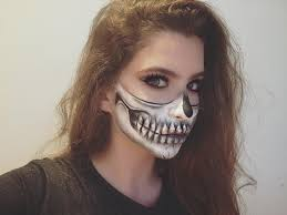halloween half skull makeup tutorial