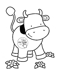 Small Cow Coloring Page For Kids
