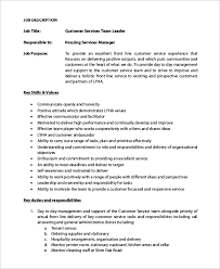 Customers Service Job Description Sample Customer Service Job Description 8 Examples In Pdf