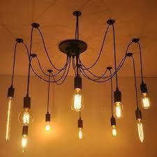 modern white black re chandeliers 6 16 arms retro adjule edison bulb lamp art spider ceiling luminaire fixture black color 12 lights
