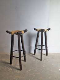 high vintage wooden stools with cow leather seats set of 2