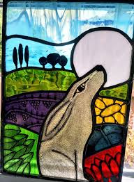 the a4 version of my very popular hare and moon stained glass panel