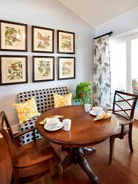 Traditional Wooden Table With Decorative Wall Art For Impressive Breakfast Nook  Decorating Ideas