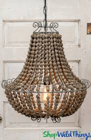 wood round beaded chandeliers metal wire frame lighting wildthings