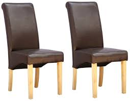 julian bowen cuba brown faux leather dining chair pair