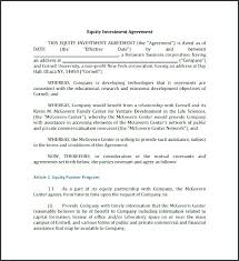 Free Business Investment Agreement Equity Template Editable Contract ...