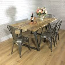 Vintage Metal Dining Table Reclaimed Industrial Chic 6 8 Seater Solid Wood And Metal Dining