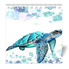 com hommomh 72 x 72 shower curtain with hooks bathroom anti bacterial waterproof comfortable sea turtle home kitchen
