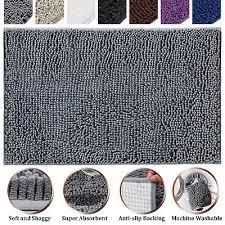 soft microfiber bath rug non slip bathroom mat grey