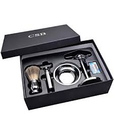 csb shaving gift set pure badger shaving brush de double edge safety razor