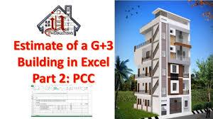 Design Of G 3 Rcc Building Detailed Estimate Of A G 3 Building In Excel Part 2 Pcc