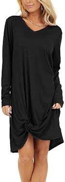 Naggoo Women's Casual <b>Dresses</b> Long Sleeve V Neck Twist Knot ...