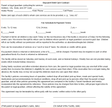Daycare Contract Template Free Care Contract Form Template Copyright By