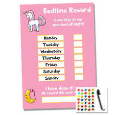Unicorn Star Chart Details About Unicorn Bedtime Nightime Reward Chart Kids Child Sticker Star Sleep Own Bed