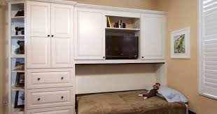 home office with murphy bed. Painted Home Office Murphy Wall Bed In White By Showplace Cabinetry -  Feature With