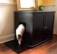 Wooden Litter Box Cabinets Refined Feline Wooden Litter Box Cabinet The Green Head
