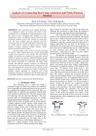 Design And Analysis Of Connecting Rod Project Report Analysis Of Connecting Rod Using Analytical And Finite