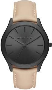 men s michael kors slim runway leather strap watch mk8510