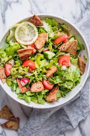 salad background. Wonderful Salad Large Bowl Of Lebanese Fattoush Salad On A Marble Background  Includes Lettuce Tomatoes Inside Background