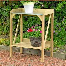 details about kingfisher wooden potting table garden bench greenhouse plant shelf work station