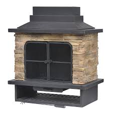 garden treasures brown steel outdoor wood burning fireplace at intended for kits plans 1