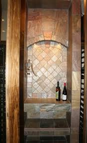wine cellar with copper slate tile