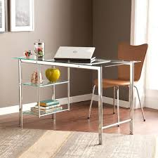 Home Office Glass Desk Clay Alder Liberty Chrome Frosted
