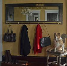 Wall Mounted Coat Rack Mirror Enchanting Vintage Door Coat Rack Mirror With Brass Rail And Grand Central