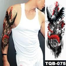 большие татуировки на руку сова стрелки часов водонепроницаемые