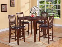 Simple Dining Room Design with Square Wood Tall Kitchen Table, 4 Dark Brown  Faux Leather Upholstered Seat Cushion, and Rectangular Shaped Light Brown  Rug ...