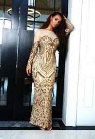 Premium Beyond Beautiful Gold Sequin Long Sleeve Maxi Dress Pink