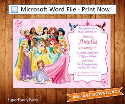disney invitation disney princess invitation disney princess birthday invite editable microsoft word file diy word template instant digital file
