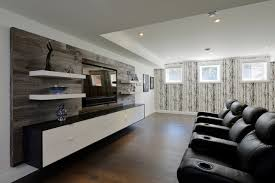 custom home design ideas. inspiration for a large contemporary enclosed dark wood floor home theater remodel in toronto with white custom design ideas
