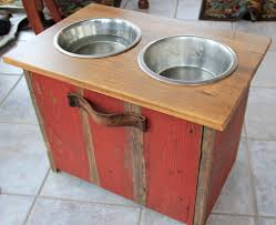 photo of elevated dog bowl station with extra food storage