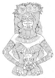 Small Picture Girl with calavera makeup zentangle coloring page Zentangle