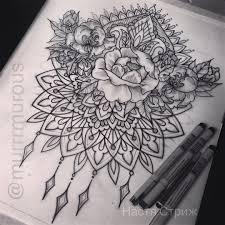 оригинальный универсальный эскиз тату цветы 115