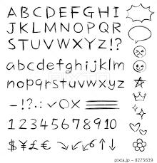 手書きアルファベット 鉛筆ペン風 セットのイラスト素材 8275639 Pixta