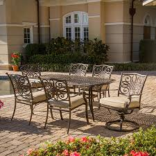 display reviews for traditions 7 piece bronze metal frame patio dining set with natural