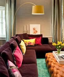 Interior:Unusual Living Room Design Colors With With Purple Leather Sofa  And Cubical White Double