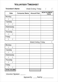 volunteer template sample volunteer timesheet 10 example format