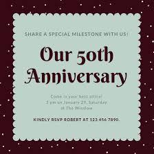 Customize 1 796 50th Anniversary Invitation Templates Online Canva